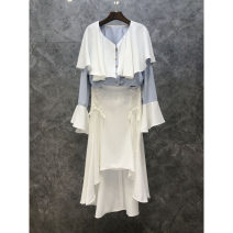 Fashion suit Spring 2021 S,M,L White skirt, light blue top 25-35 years old Petty bourgeoisie 51% (inclusive) - 70% (inclusive)