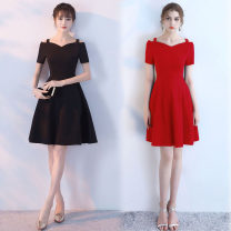 Dress Summer 2020 Black, red S,M,L,XL,2XL,3XL,4XL Middle-skirt singleton  Short sleeve commute One word collar High waist Solid color zipper Big swing routine camisole 25-29 years old Type A Retro