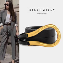 Belt / belt / chain Double skin leather Black brown white female Waistband Simplicity Single loop Middle aged youth Smooth button Glossy surface Glossy surface 2.5cm alloy Light body thick line decoration candy color elastic BILLI ZILLY BZ20M04207166 Summer 2020 no