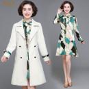 Middle aged and old women's wear Autumn 2020 Beige Xiaowei xiaoweiwei M (within 100 kg recommended) l (100-110 kg recommended) XL (110-120 kg recommended) 2XL (120-130 kg recommended) 3XL (130-140 kg recommended) 4XL (140-155 kg recommended) fashion suit easy Two piece set Solid color 40-49 years old