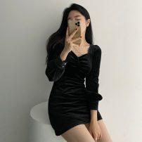 Dress Spring 2021 black S, M Short skirt singleton  Long sleeves commute V-neck High waist Solid color Socket One pace skirt routine Type A zipper