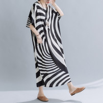 Dress Summer 2021 Picture color Average size longuette singleton  Short sleeve commute Crew neck Loose waist stripe Socket other Bat sleeve Others 35-39 years old Type H Retro 3098# 71% (inclusive) - 80% (inclusive) other other
