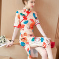 Dress Summer of 2019 On the picture M,L,XL,2XL,3XL,4XL longuette singleton  stand collar Decor zipper routine 71% (inclusive) - 80% (inclusive)
