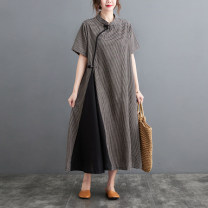 Dress Summer 2021 Picture color M,L,XL,2XL longuette singleton  Short sleeve commute stand collar Loose waist lattice Socket A-line skirt routine 25-29 years old Type A pocket 8280# 71% (inclusive) - 80% (inclusive) cotton
