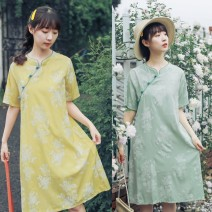 Dress Summer 2021 Yellow, water blue M,L,XL,2XL longuette singleton  Short sleeve commute stand collar Loose waist Big flower Socket A-line skirt routine Others 18-24 years old Type A Retro Printing, turnbuckle 51% (inclusive) - 70% (inclusive) other cotton