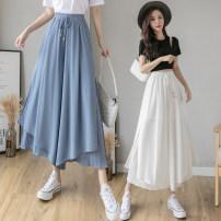 Casual pants White, blue, black S,M,L,XL Spring 2021 Ninth pants Wide leg pants High waist commute Thin money 25-29 years old 926# Korean version fold