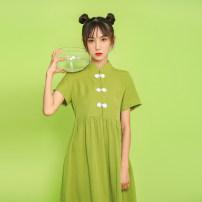 Dress Summer 2021 Avocado Green S,M,L,XL longuette commute Solid color Retro 81% (inclusive) - 90% (inclusive)