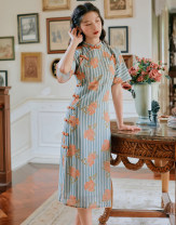 cheongsam Summer 2021 S,M,L stripe Short sleeve Single cheongsam Retro Low slit daily double-breasted  Decor 25-35 years old Piping polyester fiber