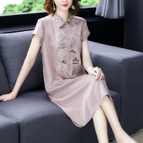 Dress Summer of 2019 Pink L,XL,2XL,3XL,4XL longuette singleton  Short sleeve commute square neck Loose waist Solid color Socket other routine 40-49 years old Other / other ethnic style Embroidery