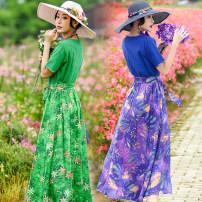 Dress Summer of 2019 longuette singleton  Short sleeve commute V-neck Elastic waist Big flower Socket Big swing Wrap sleeves Others 18-24 years old Type X Edora Retro 81% (inclusive) - 90% (inclusive) cotton