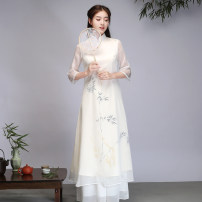 Dress Spring 2021 Off white M,L,XL,2XL longuette commute Others 35-39 years old Retro