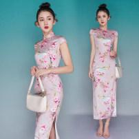 cheongsam Summer 2021 XXL,S,M,L,XL Picture color Short sleeve long cheongsam ethnic style High slit daily Oblique lapel Decor