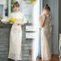 cheongsam Summer 2021 XXL,S,M,L,XL Off white Short sleeve long cheongsam Retro High slit Round lapel 25-35 years old Piping 71% (inclusive) - 80% (inclusive)