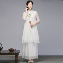 Dress Summer 2021 One piece top, white wide leg pants 2121 M,L,XL,2XL Mid length dress elbow sleeve commute stand collar 35-39 years old Retro