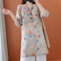 Dress Summer 2021 Orange, blue M,L,XL,2XL longuette singleton  elbow sleeve commute Socket routine Korean version cotton