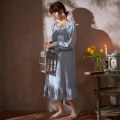 Nightdress Sleep right / Mrs. slim Sh1878 water blue 160(M),165(L),170(XL),175(XXL) Sweet Long sleeves pajamas longuette spring Solid color youth square neck cotton lace More than 95% pure cotton SH1878 220g