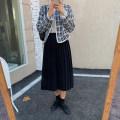 skirt Spring 2021 S,M,L Black, Khaki Mid length dress Pleated skirt 91% (inclusive) - 95% (inclusive) polyester fiber