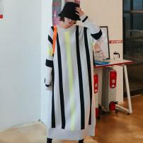 Dress Autumn 2020 Apricot Average size longuette singleton  Long sleeves commute Crew neck Loose waist stripe Socket routine Type H Other / other Korean version More than 95% cotton