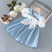 Dress wathet female Other / other 80cm,90cm,100cm,110cm,120cm Other 100% summer princess Short sleeve Solid color Denim Pleats other 12 months, 18 months, 2 years old, 3 years old, 4 years old, 5 years old, 6 years old, 7 years old