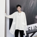 T-shirt Youth fashion White, black routine M,L,XL Others Long sleeves Crew neck Extra wide Other leisure Four seasons 20.9.14.75 teenagers Off shoulder sleeve Youthful vigor Cotton wool 2020 Solid color Asymmetry Cotton ammonia other No iron treatment