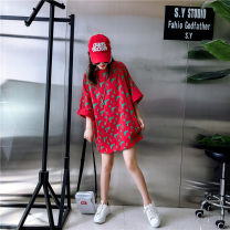 T-shirt gules Average size Summer of 2019 elbow sleeve Crew neck easy Medium length routine street cotton 86% (inclusive) -95% (inclusive) 18-24 years old youth Cartoon animation Sports & Leisure