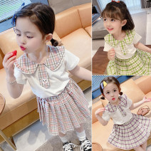suit Other / other Purple, pink, light green 90cm,100cm,110cm,120cm,130cm female summer Korean version Short sleeve + skirt 2 pieces Thin money There are models in the real shooting Socket lattice cotton children Learning reward Chinese Mainland