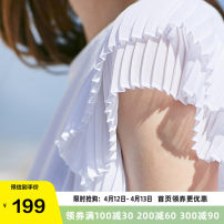 T-shirt white S M L XL Summer of 2019 Short sleeve Crew neck easy Regular Flying sleeve Sweet cotton 96% and above 25-29 years old youth Solid color OLrain Ruffle fold Cotton 100% solar system