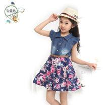 skirt 110cm,120cm,130cm,140cm,150cm,160cm Denim blue Other / other female Cotton 100% summer Europe and America Broken flowers A-line skirt cotton