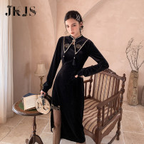 cheongsam Winter 2020 S,M,L,XL black Long sleeves long cheongsam Low slit daily Straight front 25-35 years old JK0109559 96% and above