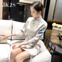 cheongsam Spring 2021 S,M,L,XL Off white three quarter sleeve long cheongsam grace Low slit daily Oblique lapel Broken flowers 25-35 years old Piping 96% and above