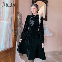 cheongsam Winter 2020 S,M,L,XL black Long sleeves Single cheongsam No slits daily Oblique lapel 25-35 years old 96% and above