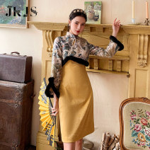 cheongsam Winter 2020 XS,S,M,L yellow Long sleeves long cheongsam grace No slits daily Oblique lapel 25-35 years old JK0101727 96% and above