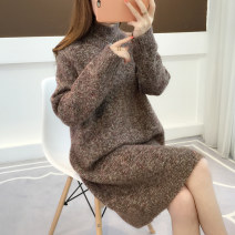 sweater Winter of 2018 Average size Long sleeves Socket singleton  Medium length acrylic fibres 51% (inclusive) - 70% (inclusive) High collar thickening commute routine Solid color Straight cylinder Regular wool 18-24 years old Anzoveve thread Pure e-commerce (online only)