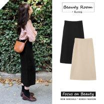 skirt Winter 2020 S,M,L,XL Khaki, black Mid length dress Versatile High waist A-line skirt Solid color Type A 18-24 years old 51% (inclusive) - 70% (inclusive) cotton zipper