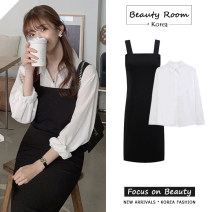 Dress Autumn 2020 Black strap skirt, white shirt S,M,L,XL longuette Two piece set Long sleeves commute square neck High waist Solid color A-line skirt shirt sleeve straps 18-24 years old Type A Other / other Korean version Pleating, folding, stitching 71% (inclusive) - 80% (inclusive) polyester fiber