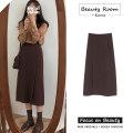 skirt Autumn 2020 S,M,L,XL Coffee skirt, black skirt, orange shirt, coffee skirt [Plush], black skirt [Plush] Mid length dress Versatile High waist A-line skirt Solid color Type A 18-24 years old zipper