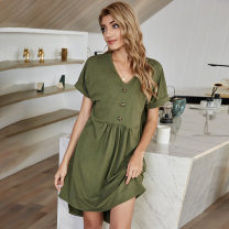 Dress Spring 2021 Army green S,XL,L,M Mid length dress singleton  Short sleeve V-neck High waist Solid color Socket A-line skirt routine Others 18-24 years old CAUSEY , CAUSEY Splicing 51% (inclusive) - 70% (inclusive) knitting polyester fiber