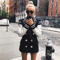 short coat Autumn of 2019 S,M,L,XL,2XL,3XL Black and white Long sleeves routine routine singleton  Self cultivation street routine tailored collar double-breasted Solid color Other / other 31% (inclusive) - 50% (inclusive) Button, stitching polyester fiber polyester fiber