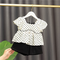 suit Baobao elephant female summer Korean version Short sleeve + pants 2 pieces Thin money No model Socket nothing heart-shaped cotton children Expression of love Class A Cotton 95% polyester 5% 6 months, 12 months, 9 months, 18 months, 2 years, 3 years, 4 years Chinese Mainland