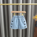 trousers Baobao elephant female 80 # (recommended height 73cm-80cm), 90 # (recommended height 85CM), 100 # (recommended height 90cm), 110 # (recommended height 100cm), 120 # (recommended height 110cm) blue summer Pant Korean version No model Jeans Leather belt High waist Cotton denim Open crotch