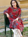 Dress Spring 2021 Old red Average size longuette singleton  Long sleeves commute stand collar Loose waist Decor Socket A-line skirt routine Type A ethnic style printing More than 95% cotton