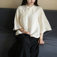 shirt Black, apricot Average size Spring 2021 hemp 96% and above three quarter sleeve commute Regular stand collar Socket routine Solid color ethnic style hemp