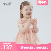 Dress Pink female DAVE&BELLA 73cm,80cm,90cm,100cm,110cm,120cm,130cm Other 100% summer Europe and America Short sleeve Plants and flowers other Splicing style DBJ17244 Class A Chinese Mainland Zhejiang Province Hangzhou
