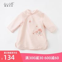 Dress Pink female DAVE&BELLA 73cm,80cm,90cm,100cm,110cm,120cm,130cm,140cm Other 100% spring and autumn Chinese style Long sleeves Broken flowers other A-line skirt DBM17250 Class A Chinese Mainland Zhejiang Province Hangzhou