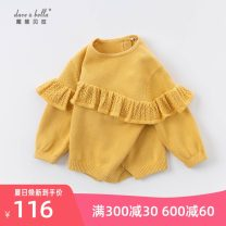 Sweater / sweater 73cm,80cm,90cm,100cm,110cm,120cm,130cm Pure cotton (100% cotton content) female yellow DAVE&BELLA Europe and America There are models in the real shooting Socket routine Crew neck nothing Fine wool Solid color Cotton 100% DBS14323-1 Class A Chinese Mainland