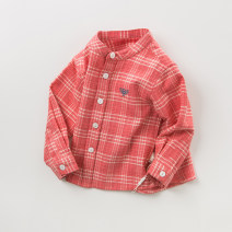 shirt Red Plaid Plush thickened version, [pre-sale] Plush thickened version DAVE&BELLA neutral 73cm(18M),80cm(24M),90cm(3Y),100cm(4Y),110cm(5Y),120cm(6Y),130cm(7Y) spring and autumn Long sleeves leisure time lattice Pure cotton (100% cotton content) stand collar Cotton 100% DBJ10995 Class A