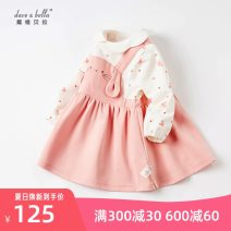Dress Light pink, [pre sale] female DAVE&BELLA 66cm,73cm,80cm,90cm,100cm,110cm,120cm Other 100% spring and autumn Europe and America Long sleeves Cartoon animation cotton Splicing style DBM16332 Class A Chinese Mainland Zhejiang Province Hangzhou