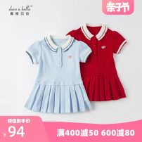 Dress Light blue, red female DAVE&BELLA 73cm,80cm,90cm,100cm,110cm,120cm,130cm,140cm Other 100% summer Europe and America Short sleeve Solid color Pure cotton (100% cotton content) Pleats DBM17845 Class A Chinese Mainland Zhejiang Province Hangzhou