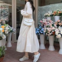 Dress Spring 2021 Apricot, white S,M,L,XL,2XL longuette singleton  Long sleeves commute Crew neck Loose waist Solid color Socket A-line skirt routine 18-24 years old Korean version Button More than 95% other