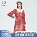 Dress Spring 2021 Flower rust red XS S M L XL 2XL 3XL 4XL Mid length dress singleton  Long sleeves commute Dot 30-34 years old Type X Jiuzi Simplicity JTBC50041 More than 95% other Other 100%